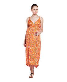 Oxolloxo Singlet Ditsy Floral Print Maternity Dress - Orange