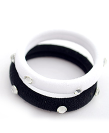 Pretty Ponytails Set Of 2 Rubber Band With Diamonds - Black & White