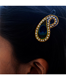 Pretty Ponytails Peacock Feather Zardozi Paisley Hair Clip - Blue Green & Golden
