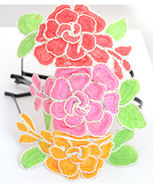 Pretty Ponytails Set Of 3 Rose Flower Hairband - Pink Yellow & Red