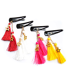 Pretty Ponytails Set Of 4 Boho Tassels Hair Clip - Yellow Red White Pink
