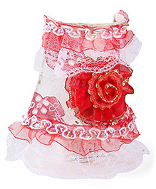 Rose Applique With Lace Border Night Lamp - Red