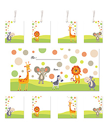 Little Jamun Cute Animals Themed Envelopes, Stickers And Gift Tags Multicolor - Set Of 10