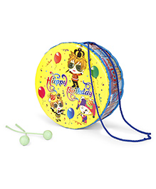 Mansaji Happy Birthday Print Drum Toy - Yellow Blue - 1730387