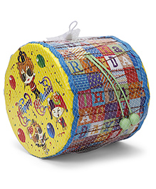 Mansaji Happy Birthday Print Drum Toy - Yellow Blue