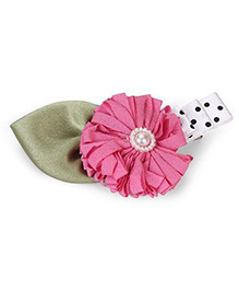 Funkrafts Big Flower & Leaf Applique Hair Clip - Pink