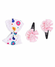 Funkrafts Hair Clips Combo Of Bow & Flower - Multicolor