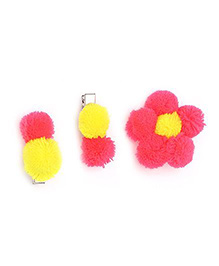 Funkrafts Set Of 3 Pom Pom Hair Clips Combo - Multicolor