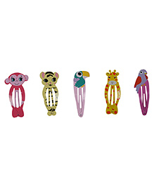 Funkrafts Animals Tic Tac Hair Clips Pack Of 5 - Multicolor - 1733209