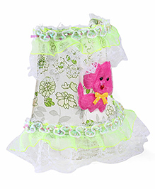 Floral Printed With Lace Border Night Lamp - Green Pink