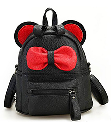 Abracadabra Faux Leather Bag 3D Bow Feature Black - Height 9 Inches