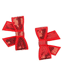 Needybee Glitter Hair Clips Pack Of 2 - Red