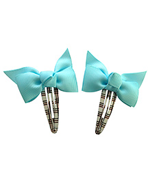 NeedyBee Snap Clips With Ribbon Bow Pack Of 2 - Blue