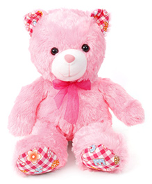Dimpy Stuff Teddy Bear With Printed Paw Soft Toy Pink - Height 33 Cm