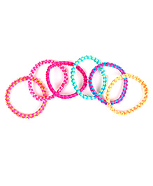 Babyhug Hair Rubber Band Stripe Design Set Of 6 - Multicolor