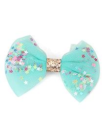Babyhug Bow Shape Hair Clip With Stars - Sea Green