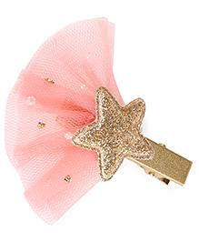 Babyhug Hair Clip With Star Applique - Peach Golden