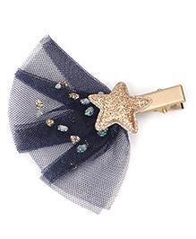 Babyhug Hair Clip With Star Applique - Navy Golden