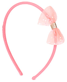 Babyhug Hair Band With Net Bow Applique - Light Pink