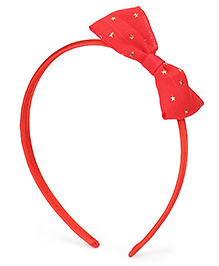 Babyhug Hair Band With Starry Bow Applique - Red