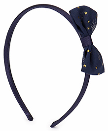 Babyhug Hair Band With Starry Bow Applique - Navy