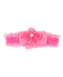 Babyhug Elasticated Headband Flower Applique - Pink