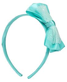 Babyhug Hair Band With Satin Bow Applique - Sea Green