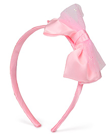 Babyhug Hair Band With Satin Bow Applique - Pink