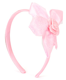 Babyhug Hair Band With Flower Motif - Light Pink
