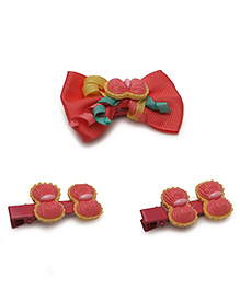 Babyhug Bow Shape Hair Clip Pack Of 3 - Red