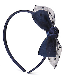 Babyhug Hair Band With Flower & Bow Applique - Navy