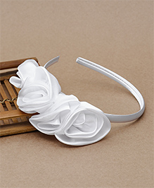 Babyhug Hair Band Rosette Applique - White