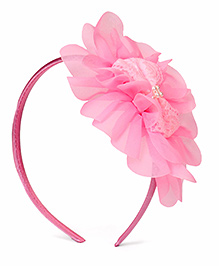 Babyhug Hair Band Floral Applique - Light Pink