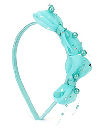 Babyhug Hair Band Pearl Bow Applique - Aqua Blue