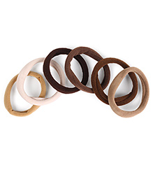 Babyhug Hair Rubber Band Set Of 6 - Black Brown Cream