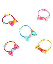 Babyhug Hair Rubber Band With Bow Design Set Of 5 - Multicolour