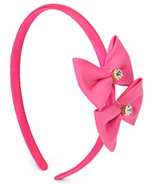Babyhug Hair Band Diamond Studded Bow Applique - Dark Pink