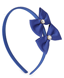Babyhug Hair Band Diamond Studded Bow Applique - Blue