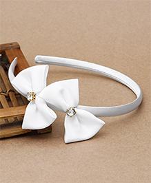 Babyhug Diamond Studded Bow Applique - White