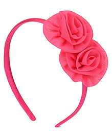Babyhug Hair Band Rose Applique - Dark Pink