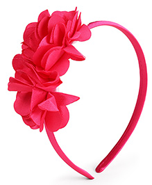 Babyhug Hair Band With Double Flower Motif - Dark Pink