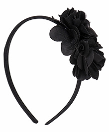 Babyhug Hair Band With Double Flower Motif - Black