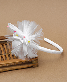 Babyhug Hair Band With Bow & Flower Motif - White