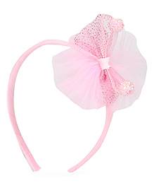 Babyhug Hair Band With Bow With Beads Motif - Light Pink