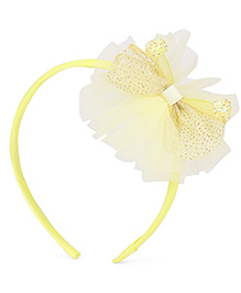 Babyhug Hair Band With Bow With Beads Motif - Light Yellow