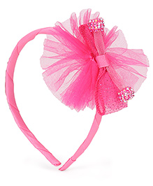 Babyhug Hair Band With Bow With Beads Motif - Pink