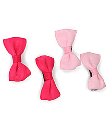 Babyhug Grossgrain Ribbon Hair Clips Set Of 4 - Pink