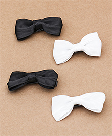 Babyhug Grossgrain Ribbon Hair Clips Set Of 4 - White Black