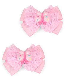 Babyhug Alligator Style Hair Clips Butterfly Applique Set Of 2 - Light Pink