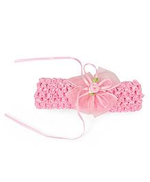 Babyhug Headband Rose Bow Applique - Light Pink